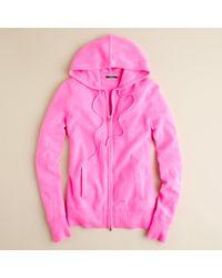J.Crew | Pink Cashmere Zip-front Hoodie | Lyst