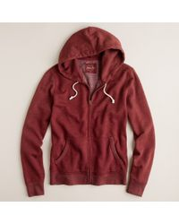J.Crew | Red Utility Fleece Zip Hoodie for Men | Lyst