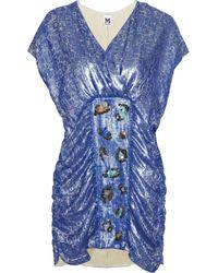 M Missoni | Blue Metallic Jacquard Dress | Lyst