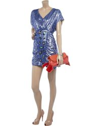 M Missoni | Blue Metallic Jacquard Dress | Lyst