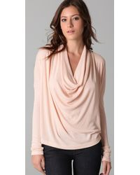 Splendid | Pink 2 X 1 Cowl Neck Top | Lyst