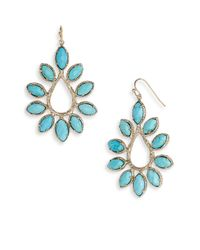 Kendra Scott | Blue Nyla Large Teardrop Floral Earrings | Lyst