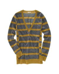 Madewell | Gray Striped Ex-boyfriend Sweater | Lyst