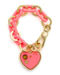Marc By Marc Jacobs | Pink Big Charms Heart Charm Bracelet | Lyst