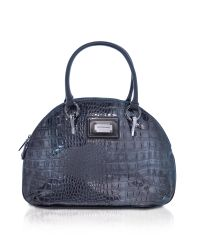 Roccobarocco | Nikole - Blue Croco Stamped Eco-leather Bowler Bag | Lyst