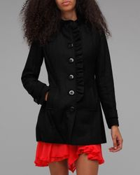 Tulle | Black Ruffle Front Coat | Lyst