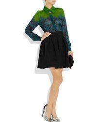 Zac Posen | Black Pleated Crepe A-line Skirt | Lyst