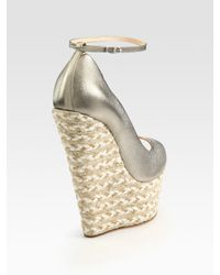 Giuseppe Zanotti | Metallic Leather Espadrille Wedge Sandals | Lyst