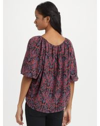 Joie | Multicolor Newbury Silk Abstract Paisley Convertible Blouse | Lyst