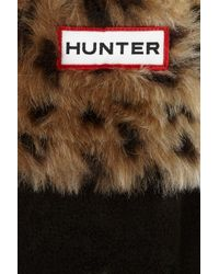 HUNTER - Black Faux Fur-trimmed Fleece Wellington Socks - Lyst