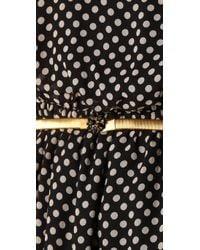 Alice + Olivia - Mikaela Polka Dot Blouson Dress with Belt in Black/cream - Lyst