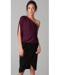 Alice + Olivia | Red Plum Silk Blend Hannah One Shoulder Top | Lyst