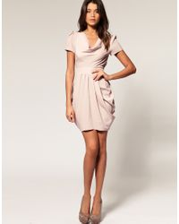 ASOS Collection | Pink Asos Petite Cowl Neck Workwear Dress | Lyst