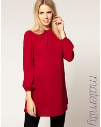 ASOS Collection - Red Asos Maternity Shift Dress with Bell Sleeves - Lyst