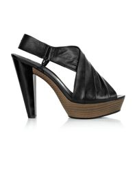 DKNY - Black Laila Ruched Leather Sandals - Lyst