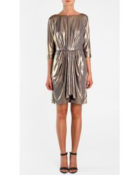 Tibi | Metallic Jersey Draped Dress | Lyst