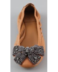 Tory Burch - Brown Eddie Bow Flats - Lyst