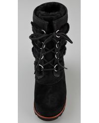 UGG   Black Suede and Shearling Lace-Up Boot   Lyst