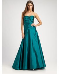 ML Monique Lhuillier | Green Strapless Taffeta Gown | Lyst