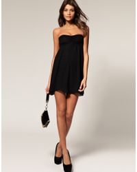 ASOS Collection - Black Asos Dress with Tie Back Chiffon Drape - Lyst