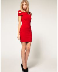 ASOS Collection - Red Asos Petite Exclusive Bodycon Dress with Shoulder Deatil - Lyst