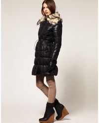 ASOS Collection | Black Asos Petite Padded Jacket with Fur Trim | Lyst