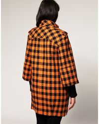 ASOS Collection | Asos Curve Ovoid Coat in Black and Orange Check | Lyst