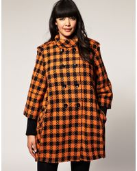 ASOS Collection | Multicolor Asos Curve Ovoid Coat in Black and Orange Check | Lyst