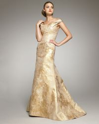 Carolina Herrera   Metallic Jacquard Off-shoulder Gown   Lyst