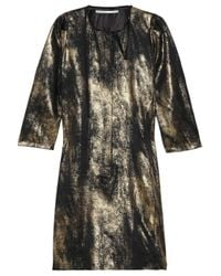 Clemens en August | Gold Metallic Silk Dress | Lyst