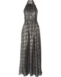 Halston | Halterneck Metallic Silk-blend Jacquard Gown | Lyst