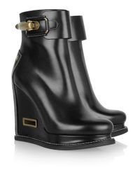 Jil Sander | Black Leather Wedge Ankle Boots | Lyst