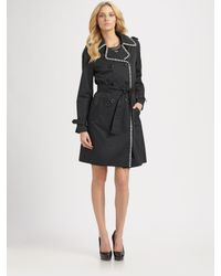 M Missoni - Black Striped-trim Trench Coat - Lyst