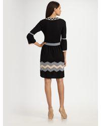 MILLY - Black Belle Zigzag Knit Dress - Lyst