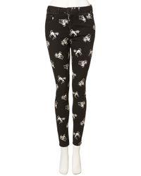 TOPSHOP - Black Unicorn Print Skinny Jeans - Lyst
