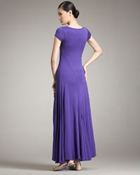 Ralph Lauren - Purple Cap-sleeve Maxi Dress - Lyst