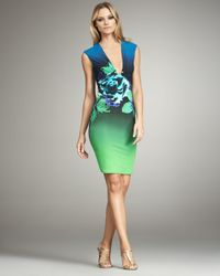 Roberto Cavalli | Blue Deep V-neck Floral Dress | Lyst