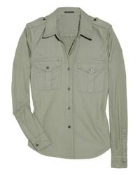 Theory | Green Military Inspired Shirt | Lyst