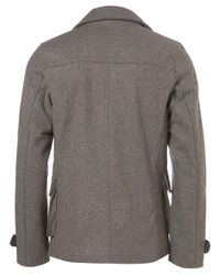 TOPMAN - Gray Light Grey Wool Peacoat Jacket for Men - Lyst