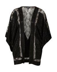 TOPSHOP   Black Lace Insert Kimono   Lyst