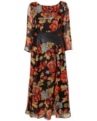 TOPSHOP | Brown Leather Waist Floral Midi Dress | Lyst