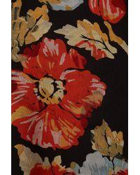 TOPSHOP - Black Leather Waist Floral Midi Dress - Lyst