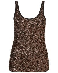TOPSHOP - Brown Sequin Front Vest - Lyst