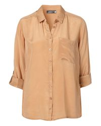 TOPSHOP | Natural Silk Slim Shirt | Lyst