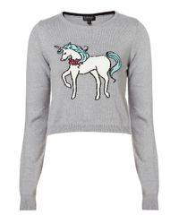 TOPSHOP - Gray Knitted Unicorn Crop Jumper - Lyst