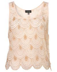 TOPSHOP - Pink Scallop Embellished Crop Vest - Lyst