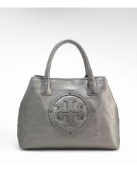 Tory Burch | Metallic Stacked Logo Small Classic Tote | Lyst