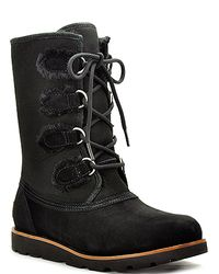 UGG | Black Suede and Shearling Lace-Up Boot | Lyst