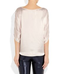 Vince - Natural Silk-satin Top - Lyst