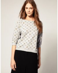 Whistles | Gray Peggy Horseshoe Print Sweat Top Grey | Lyst